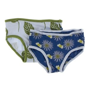 Kickee Pants Girls Underwear Set (Dew Philodendron and Navy Cornflower and Bee)