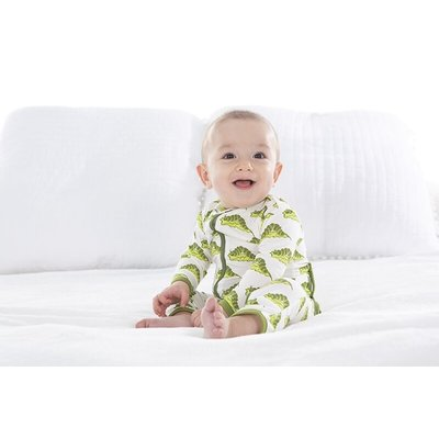 Kickee Pants Print Coverall with Zipper (Natural Caterpillars)
