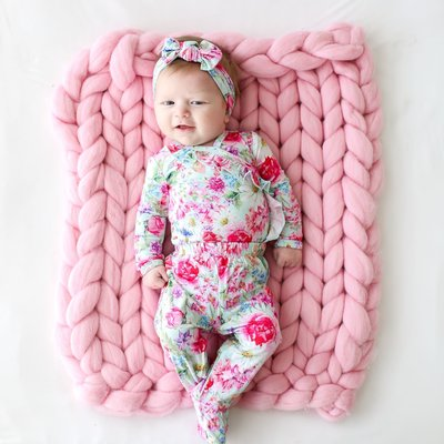 Posh Peanut Alice - Ruffled Kimono Set  Footie Pants & Headband Set