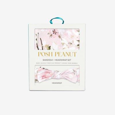 Posh Peanut Vintage Pink Rose Swaddle Headband Set