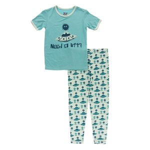 Kickee Pants Short Sleeve Piece Print Pajama Set (Aloe Aliens with Flying Saucers)