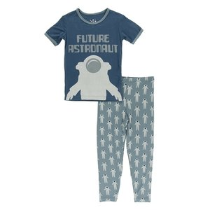 Kickee Pants Short Sleeve Piece Print Pajama Set (Dusty Sky Astronaut)
