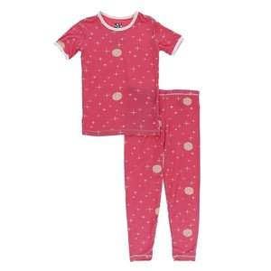 Kickee Pants Print Short Sleeve Pajama Set (Red Ginger Full Moon)