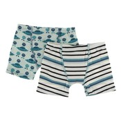 Kickee Pants Boxer Briefs Set (Aloe Aliens with Flying Saucers & Neptune Stripe)