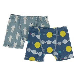 Kickee Pants Boxer Briefs Set (Dusty Sky Astronaut & Twilight Planets)