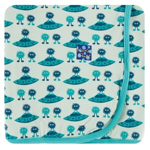 Kickee Pants Print Swaddling Blanket (Aloe Aliens with Flying Saucers - One Size)