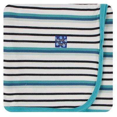 Kickee Pants Print Swaddling Blanket (Neptune Stripe - One Size)