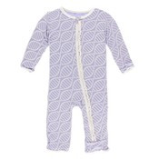Kickee Pants Print Muffin Ruffle Coverall with Zipper (Lilac Double Helix)