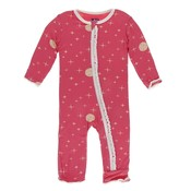 Kickee Pants Print Muffin Ruffle Coverall with Zipper (Red Ginger Full Moon)