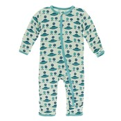 Kickee Pants Print Coverall with Zipper (Aloe Aliens with Flying Saucers)