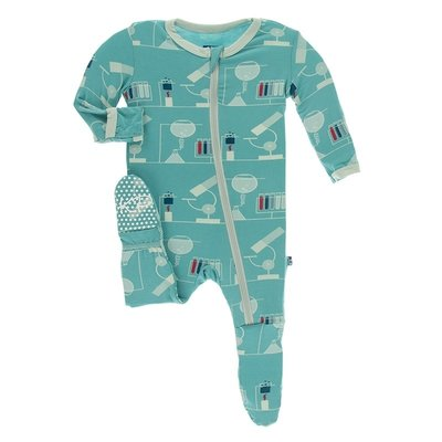 Kickee Pants Print Footie with Zipper (Neptune Chemistry Lab)