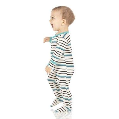 Kickee Pants Print Footie with Zipper (Neptune Stripe)