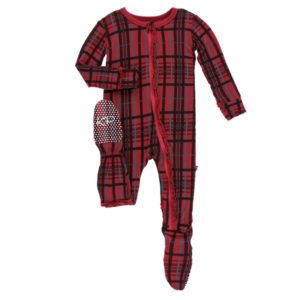 Kickee Pants Holiday Print Muffin Ruffle Footie with Zipper (Christmas Plaid)