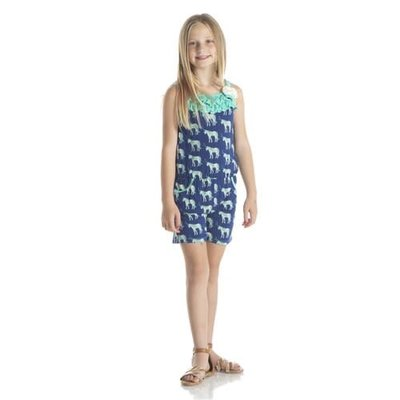 Kickee Pants Print Flower Romper with Pockets (Flag Blue Unicorns)