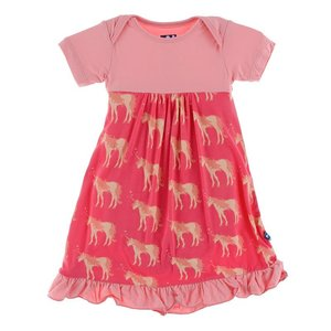 Kickee Pants Print Short Sleeve One Piece Dress Romper (Red Ginger Unicorns)