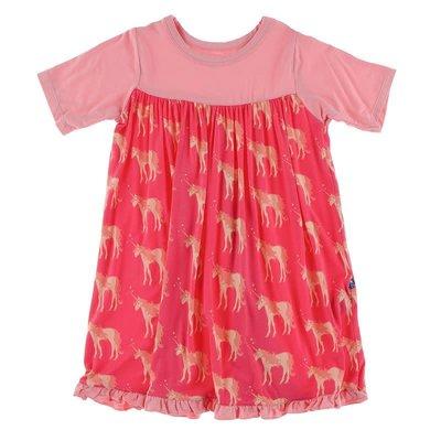 Kickee Pants Print Classic Short Sleeve Swing Dress (Red Ginger Unicorns)