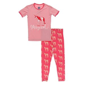 Kickee Pants Short Sleeve Piece Print Pajama Set (Red Ginger Unicorns)