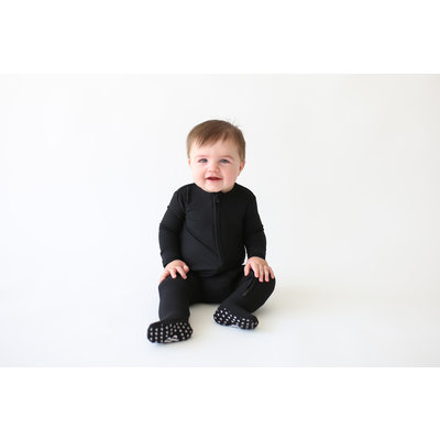 Posh Peanut Solid Ribbed - Black - Footie Zippered One Piece