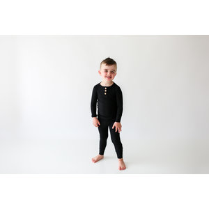Posh Peanut Solid Ribbed - Black - Long Sleeve Henley Loungewear