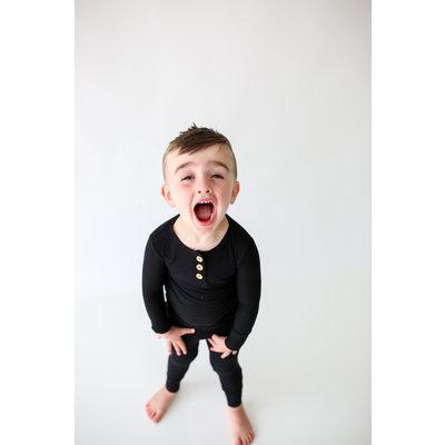 Posh Peanut Solid Ribbed - Black - Long Sleeve Henley Loungewear