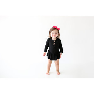 Posh Peanut Solid Ribbed - Black - Long Sleeve Henley with Twirl Skirt Bodysuit