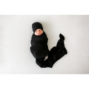 Posh Peanut Solid Ribbed - Black - Infant Swaddle and Beanie Set