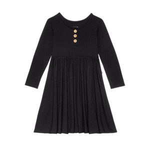 Posh Peanut Solid Ribbed - Black - Wood Button Long Sleeve Twirl Dress