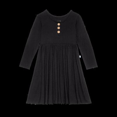 Posh Peanut Solid Ribbed - Black - Wood Button Long Sleeve Twirl Dress