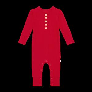 Posh Peanut Solid Ribbed: Crimson  Long Sleeve Henley Romper