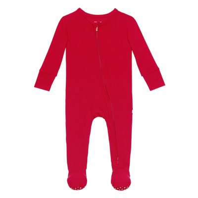 Posh Peanut Solid Ribbed - Crimson - Footie Zippered One Piece