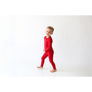 Posh Peanut Solid Ribbed - Crimson - Long Sleeve Henley Loungewear