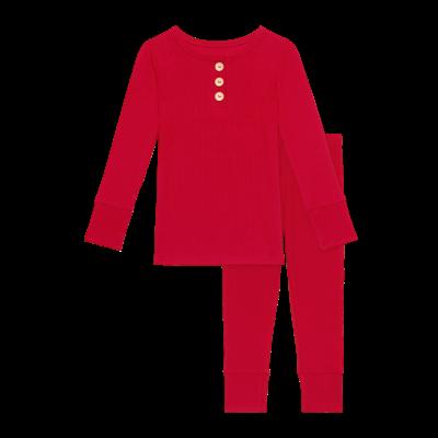 Posh Peanut Solid Ribbed - Crimson - Long Sleeve Henley Loungewear