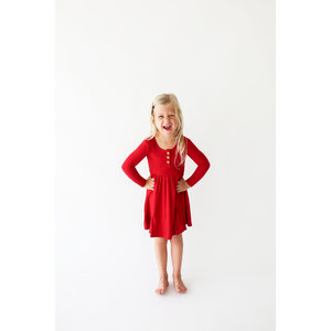 Posh Peanut Solid Ribbed - Crimson - Long Sleeve Henley Twirl Dress