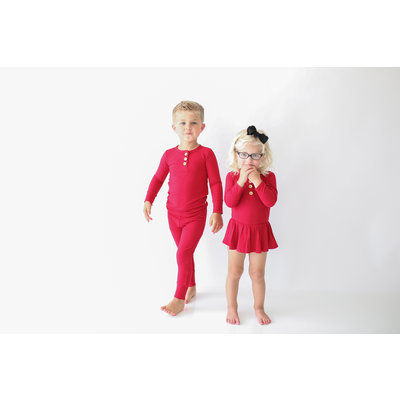 Posh Peanut Solid Ribbed - Crimson - Long Sleeve Henley with Twirl Skirt Bodysuit