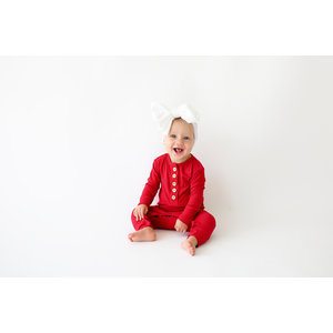 Posh Peanut Solid Ribbed - Crimson - Long Sleeve Ruffled Henley Romper