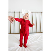 Posh Peanut Solid Ribbed - Crimson - Footie Ruffled Zippered One Piece