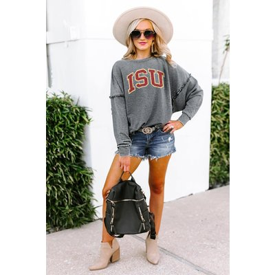 """Gameday Couture IOWA STATE CYCLONES """"BASICALLY PERFECT"""" RUFFLE DETAIL ACID-WASH PULLOVER"""