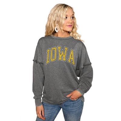 """Gameday Couture IOWA HAWKEYES """"BASICALLY PERFECT"""" RUFFLE DETAIL ACID-WASH PULLOVER"""