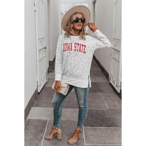 """Gameday Couture IOWA STATE CYCLONES """"DAY OFF"""" CREW NECK SIDE-SLIT FRENCH TERRY PULLOVER"""