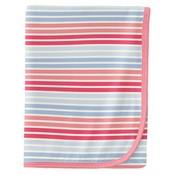Kickee Pants Print Swaddling Blanket in Cotton Candy Stripe