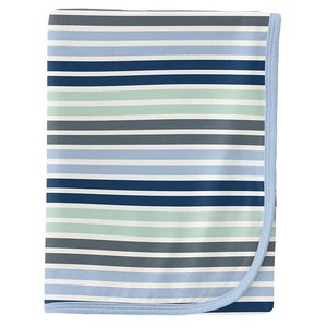 Kickee Pants Print Swaddling Blanket in Fairground Stripe