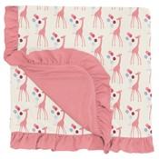 Kickee Pants Print Ruffle Stroller Blanket in Natural Balloon Giraffe