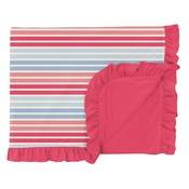 Kickee Pants Print Ruffle Toddler Blanket in Cotton Candy Stripe
