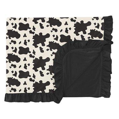 Kickee Pants Print Ruffle Toddler Blanket in Cow Print