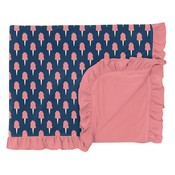 Kickee Pants Print Ruffle Toddler Blanket in Navy Cotton Candy