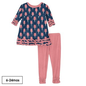 Kickee Pants Print Long Sleeve Babydoll Outfit Set in Navy Cotton Candy
