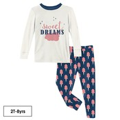 Kickee Pants Long Sleeve Graphic Tee Pajama Set in Navy Cotton Candy