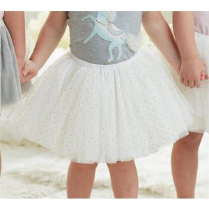 Mud Pie IVORY AND GOLD MESH TUTU 2T-5T