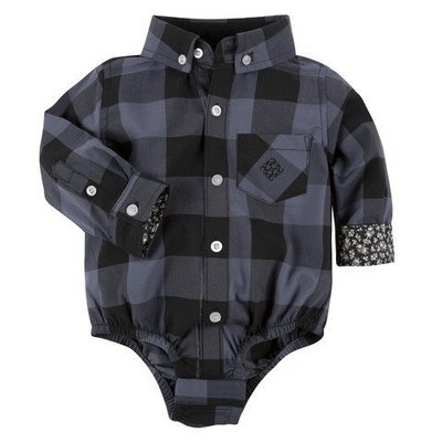 ANDY & EVAN Grey Buffalo Check Shirtzie