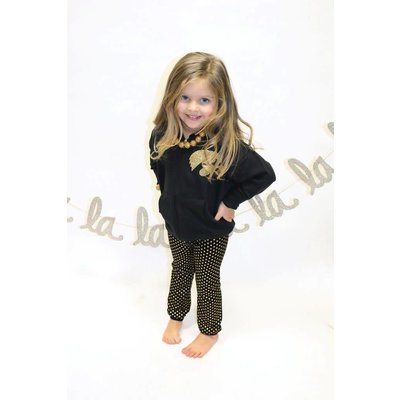 Black With Gold Foil Dot Leggings